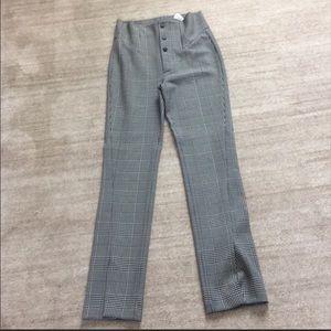 Zara high waist checked pants